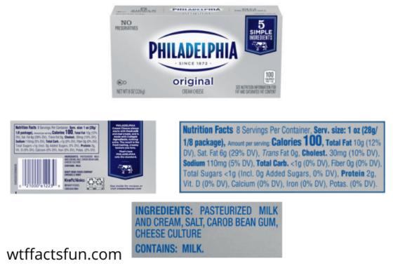 Philadelphia Cream Cheese Nutrition Facts